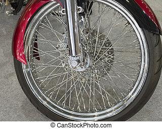 beau, roue, nickel, plaqué, motocyclette, devant, rouges