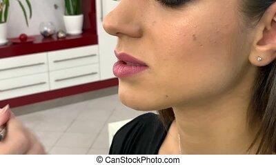 beau, rouge lèvres, artiste, maquillage, professionally, figure, lèvres, applique, modèle