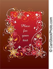 beau, rouges, floral, cadre