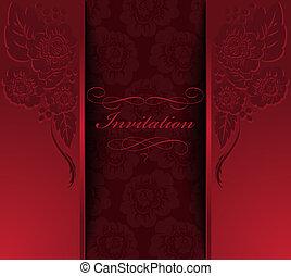 beau, rouges, invitation