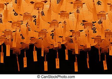 beau, rouges, lanterne chinoise