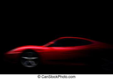 beau, rouges, sport, voiture, sur, noir
