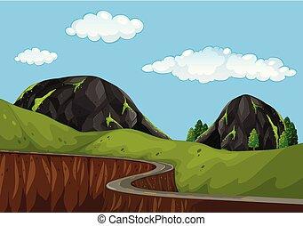 beau, route montagne