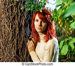 beau, roux, girl, forêt