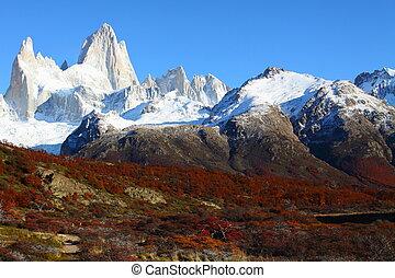 beau, roy, nature, parc national, fitz, mt., paysage, vu, argentine, patagonia, los, glaciares