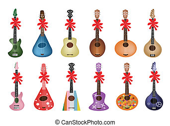 beau, ruban, guitares, rouges, ukulele