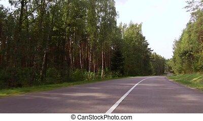 beau, rural, courbe, longue route