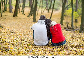 beau, séance, couple, parc, automne, terrestre