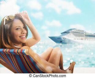 beau, séance, cruiseship, pont, coucher soleil, fond, girl, chaise plage