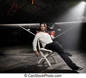 beau, séance homme, devant, avion