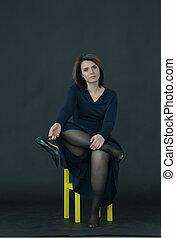 beau, séance, jeune, studio, girl, chaise