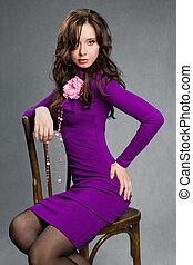 beau, séance, pourpre, girl, robe, chaise