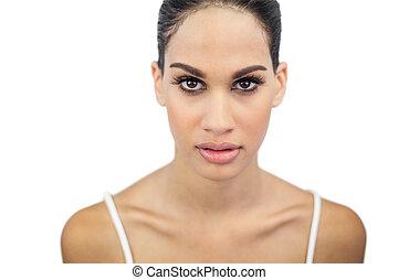 beau, sérieux, portrait femme