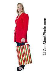 beau, sac à provisions, tenue, personne agee, dame