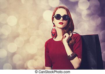 beau, sac, femmes commerciales, roux