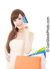 beau, sacs, achats femme, carte de débit