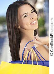 beau, sacs, achats femme, hispanique, heureux
