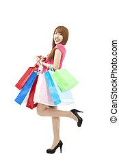 beau, sacs, achats femme, lot, heureux
