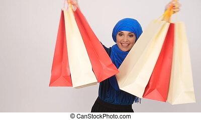 beau, sacs, achats femme, musulman, tenue, heureux
