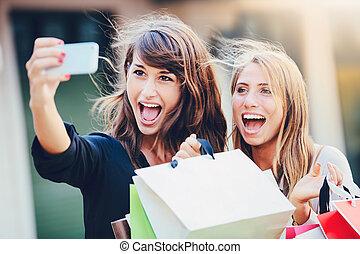 """beau, sacs, achats, prendre, filles, """"selfie"""""""
