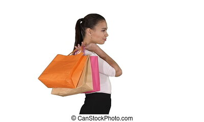beau, sacs, marche, achats femme, coloré, arrière-plan., sourire, robe, blanc, formel