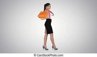 beau, sacs, marche, achats femme, coloré, gradient, arrière-plan., sourire, robe, formel