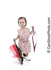 beau, sacs, peu, achats, coloré, papier, girl