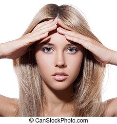 beau, sain, long, girl., blonds, hair.