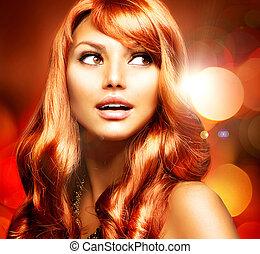 beau, sain, longs cheveux, girl, rouges