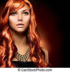 beau, sain, longs cheveux, portrait, girl, rouges