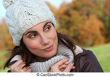 beau, saison, portrait femme, automne