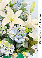 beau, salle, bouquet, haut, maison, fin, décoré, fleurs