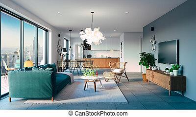 beau, salle de séjour, render, intérieur, 3d