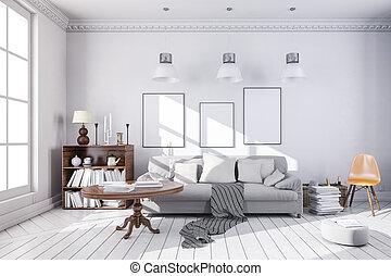 beau, salle, render, propre, intérieur, 3d