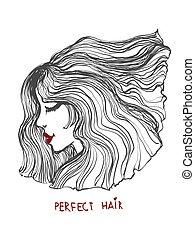 beau, salon, art, beauté, épais, illustration, girl, vecteur, hair., ligne onduleuse, icon.