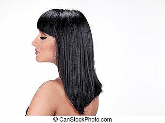beau, salon, femme, directement, longs cheveux, style