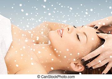 beau, salon, femme, masage