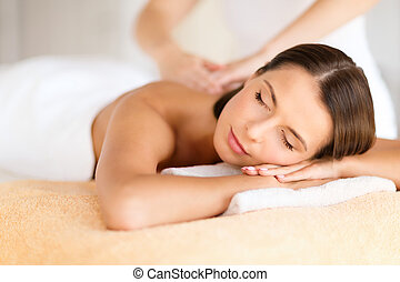 beau, salon, femme, obtenir, spa, masage