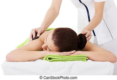 beau, salon, femme, pierre, massage., spa, avoir, mensonge