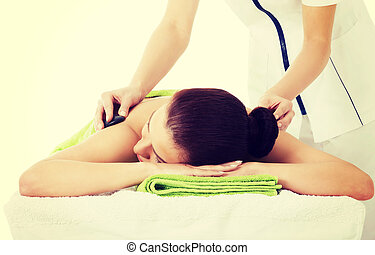beau, salon, femme, pierre, massage., spa, avoir