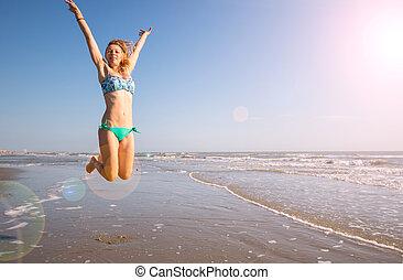 beau, saut, femme, plage, mer