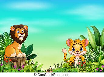 beau, sauvage, parc, dessin animé, animal