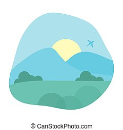 beau, scène, avion, voler, paysage