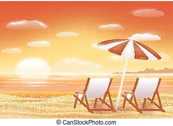 beau, scène, sable, coucher soleil, mer, chaise, plage