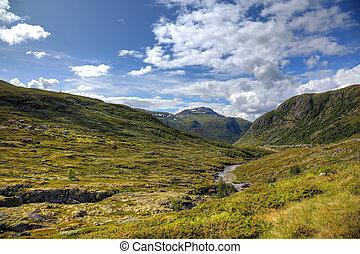 beau, scandinave, norvégien, paysage, europe., montagnes
