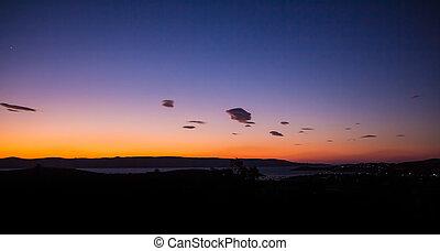 beau, scene., vif, coloré, sombre, au-dessus, lever soleil/coucher soleil, rural