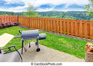 beau, secteur, clôturé, béton, barbecue., patio, arrière-cour, paysage