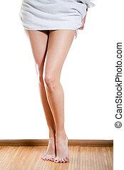 beau, serviette, fond, sur, mince, femme, blanc, jambes, ...