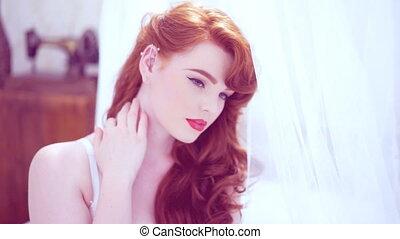 beau, sexy, femme, jeune, roux