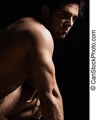 beau, sexy, topless, homme macho, portrait